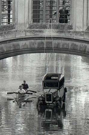 Car suspended from the Bridge of Sighs