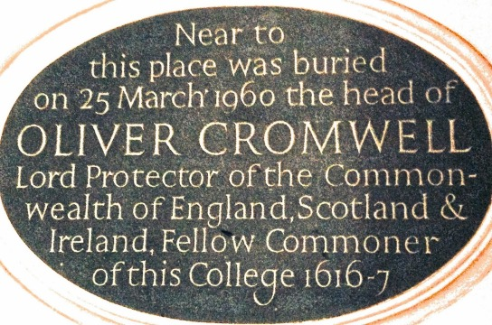 Plaque noting Cromwell's head is buried in Sidney Sussex College
